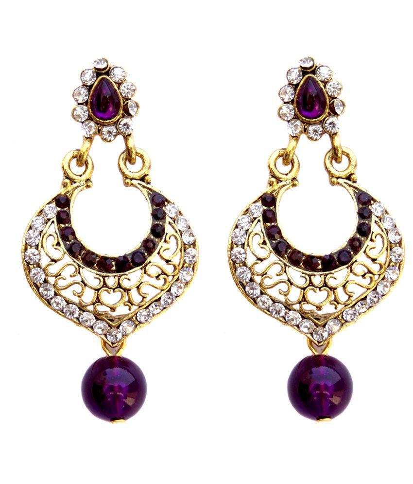 Hi Look Fancy Purple Hanging Earrings