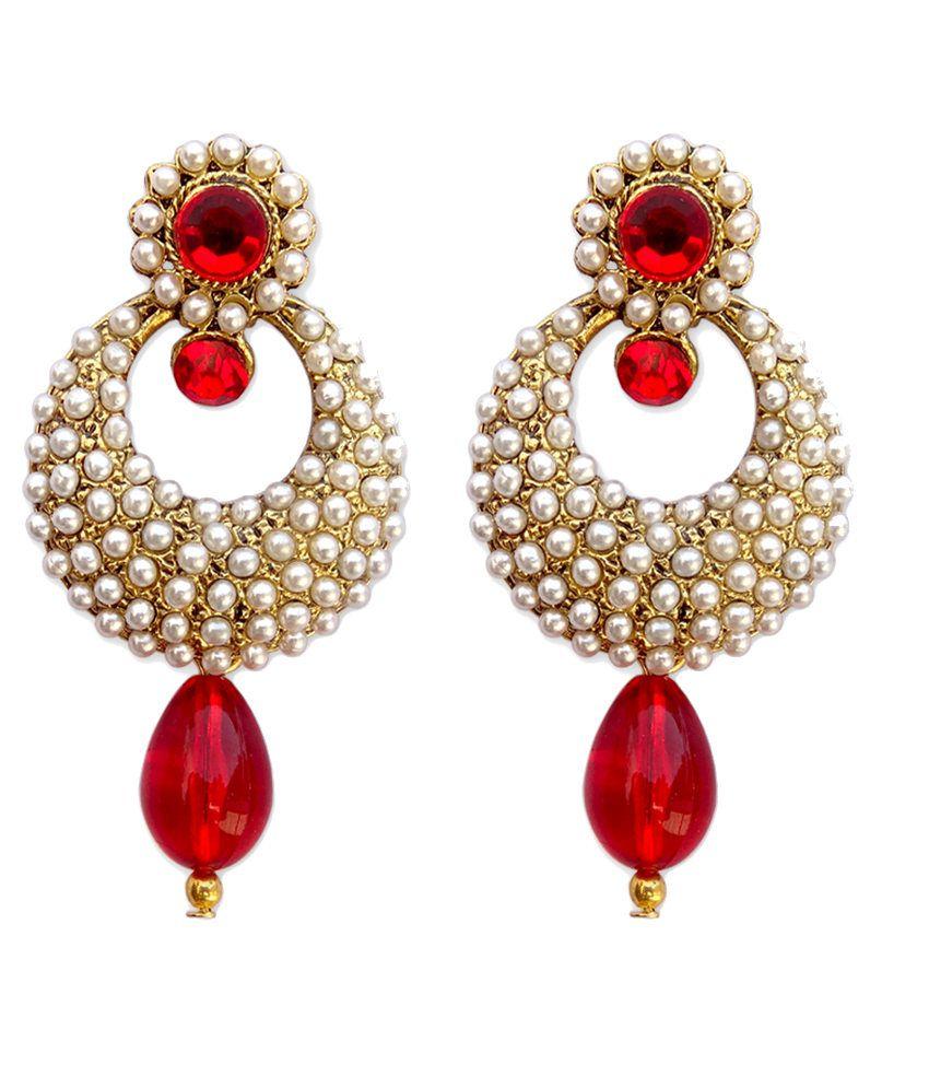 Hi Look Gorgeous Red Chand Bali Earrings