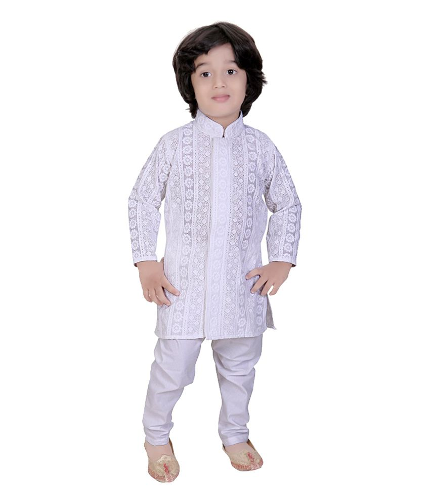 ab91b53dd0e Mint White Cotton Boys Kurta Pajama Suit - Buy Mint White Cotton Boys Kurta  Pajama Suit Online at Low Price - Snapdeal