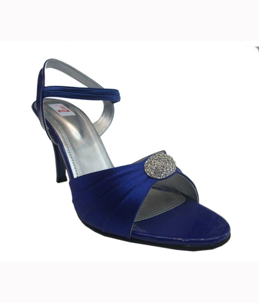 Zedds Blue Satin Party Wear Sandals