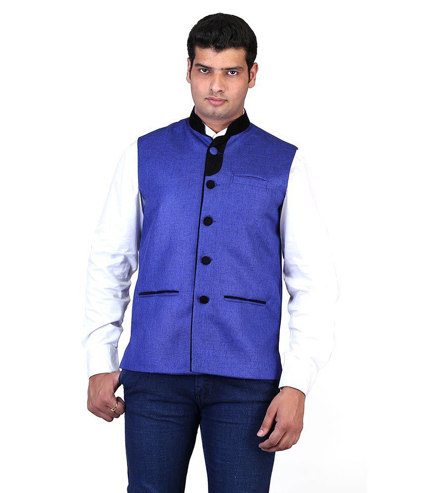 Asst Blue Poly Blend Party Wear Nehru Jacket