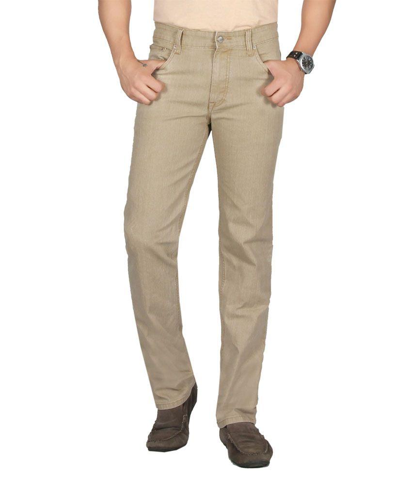 Dare Stylish Cream Comfort Fit Mid Rise Denim Jeans For Men | Da185