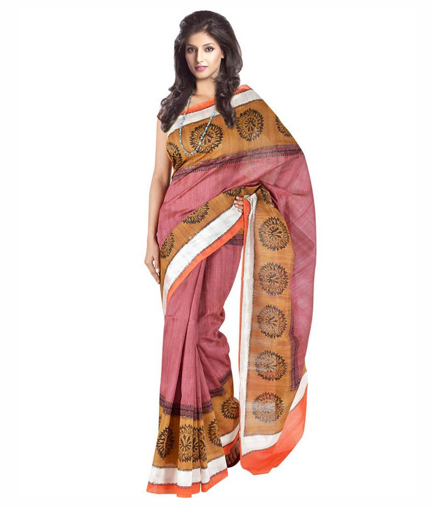 Kataan Bazaar Pink And Brown Color Banarasi Art Silk Saree