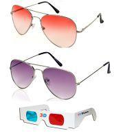 Talesara Sunglass Sale Orange Aviator Sunglass + Purple Aviator Sunglass + Free 3d Glasses Orange Sunglass