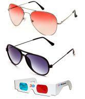 Talesara Sunglass Sale Orange Aviator Sunglass + New Style Black Wayfarer Sunglass + Free 3d Glasses Orange Sunglass