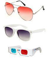 Talesara Sunglass Sale Orange Aviator Sunglass + White Wayfarer Sunglass + Free 3d Glasses Orange Sunglass