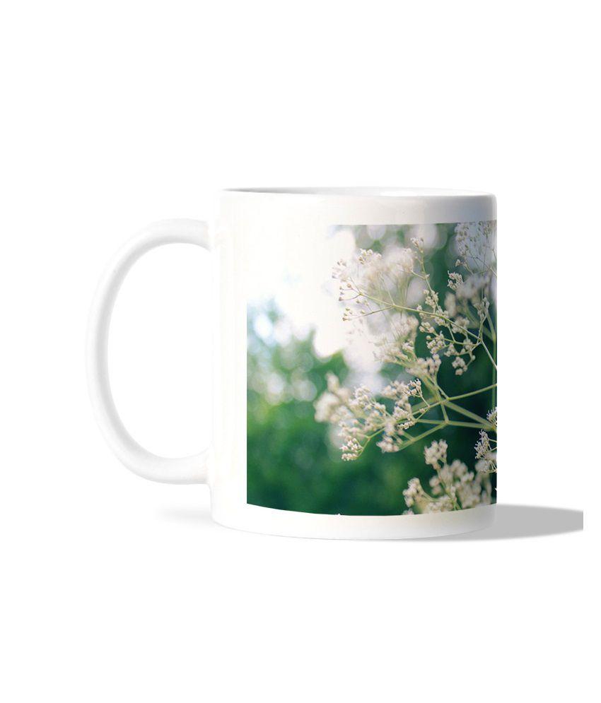 Bluegape White Flower White Mug
