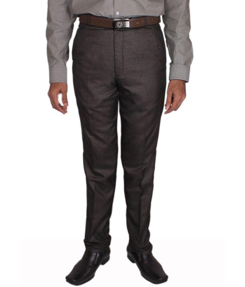 Maharaja Design Dark Brown Men's Formal Trouser