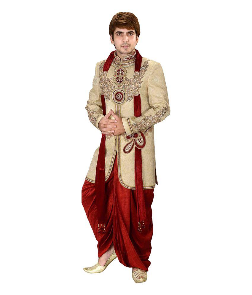 148a0c623 Meenakshi Wedding Wear Beige Wedding Jacquard Short Dhoti Kurta Set - Buy  Meenakshi Wedding Wear Beige Wedding Jacquard Short Dhoti Kurta Set Online  at Low ...