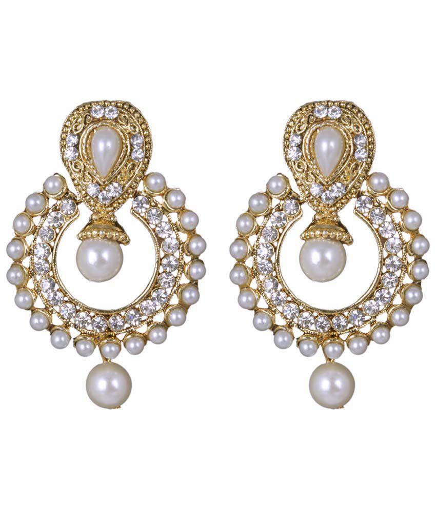 Sp Jewellery Regal Golden & White Hanging Earrings