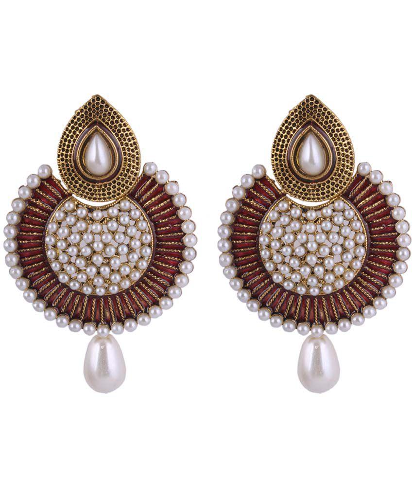 Sp Jewellery Stunning Maroon Hanging Earrings