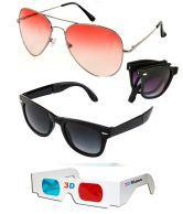 Hrinkar Sale On Sunglass Orange Aviator Sunglass + Foldable Black Wayfarer Sunglass + Free 3d Glasses Orange Sunglass
