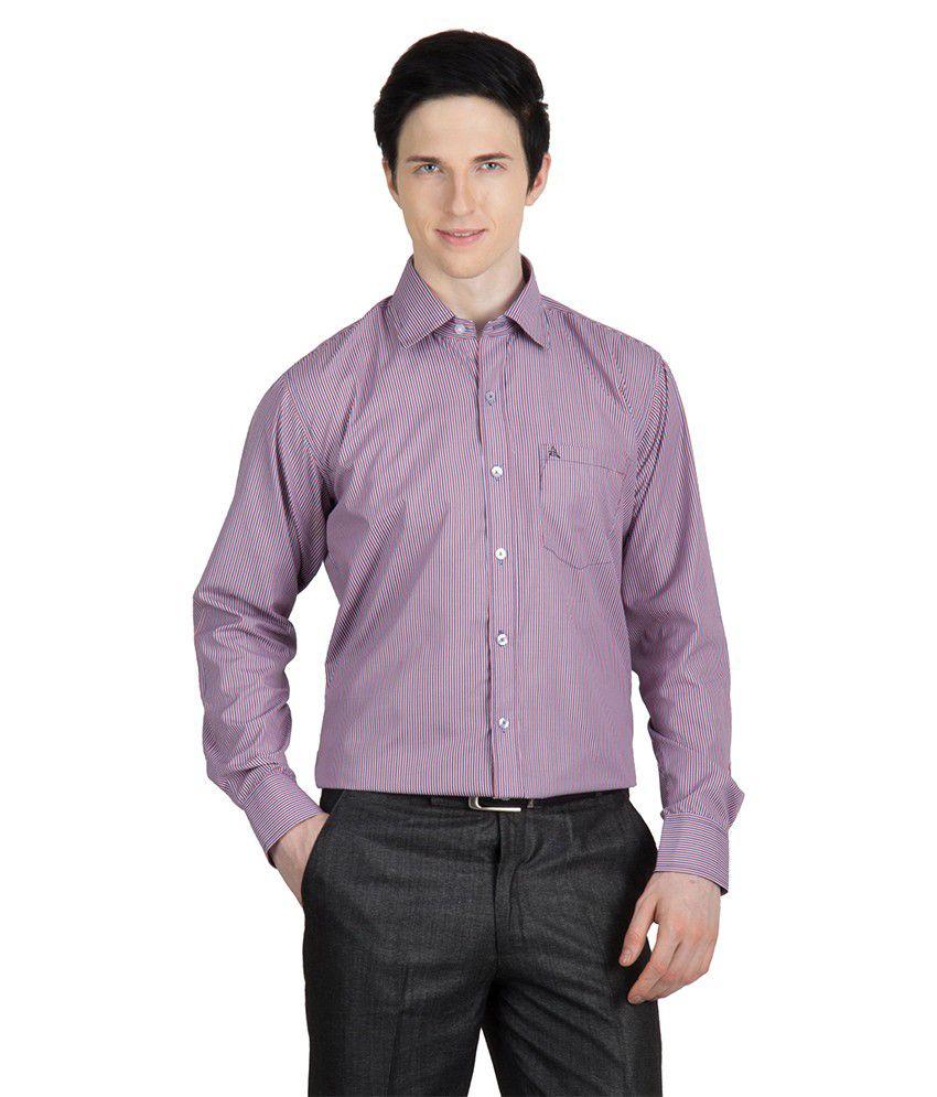 Arihant Men 39 S Formal Shirt Striped Purple Size Xs 36
