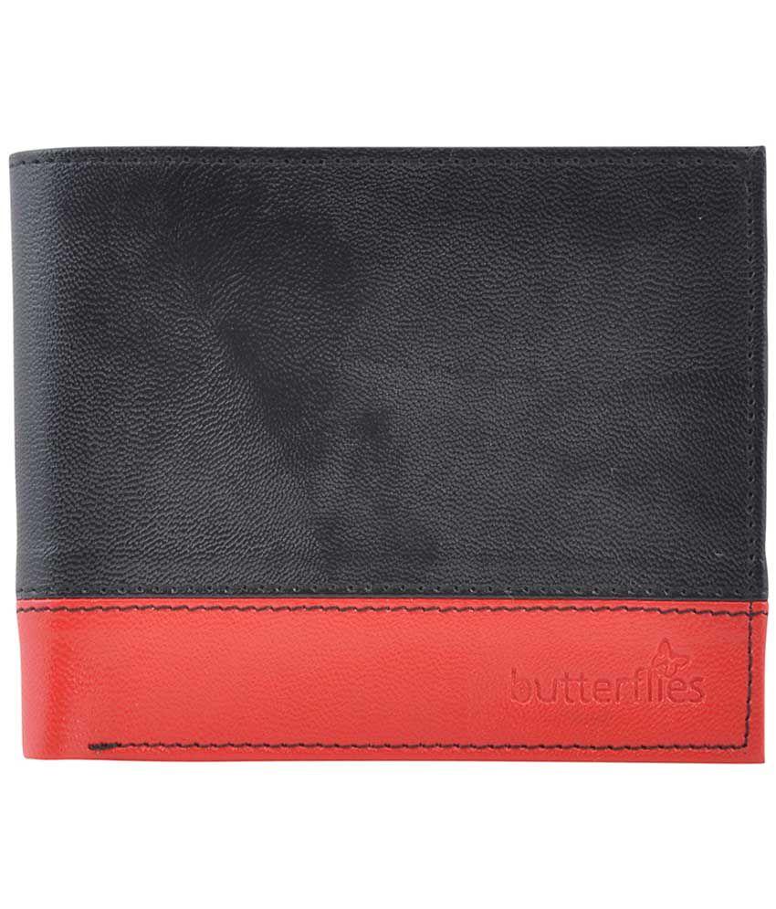 Butterflies Non Leather Black & Red Women Formal Wallet