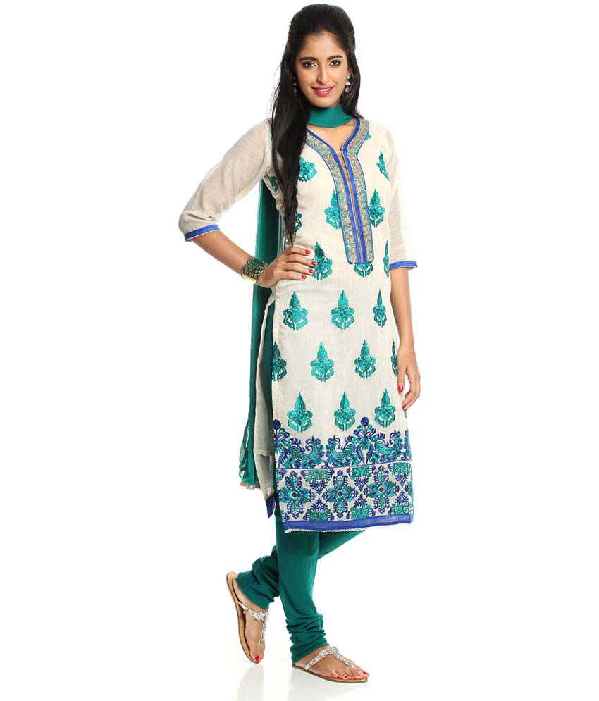 2b6fd28f98 Soch White And Green Embroidered Cotton Dress Material - Buy Soch ...