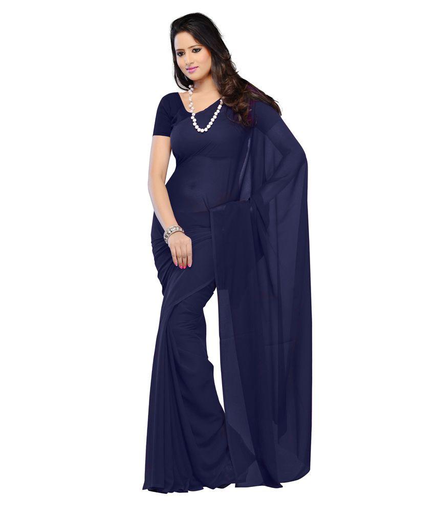 Sonika Navy Blue Chiffon Saree