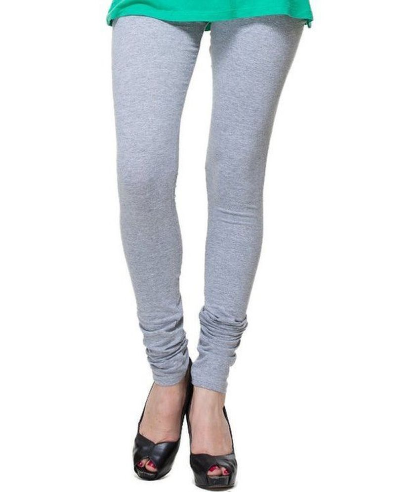 Zadine Silver Grey Solid Leggings  available at snapdeal for Rs.225