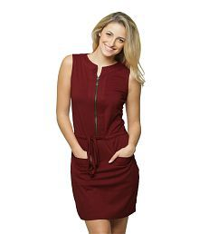 Quick View. Miss Chase Maroon Cotton Mini Shift Dresses For Women Round Neck  Casual Wear d78c4d68d
