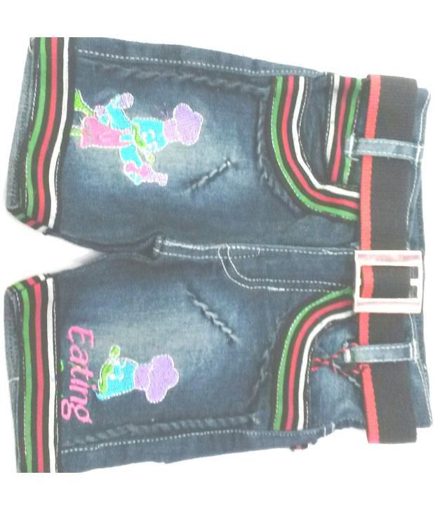 4s Green Denim Shorts With Fancy Girls Belts Worth Rs 50/-