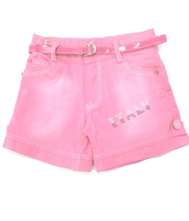 4s Pink Cotton Shorts With Pink Colour Girls Belt Worth Rs 50/-