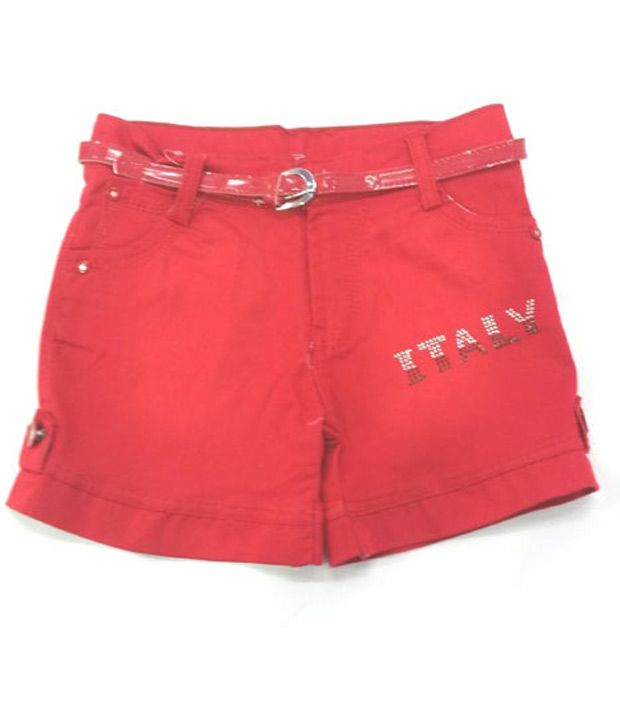 4s Red Cotton Shorts With Red Colour Girls Belt Worth Rs 50/-