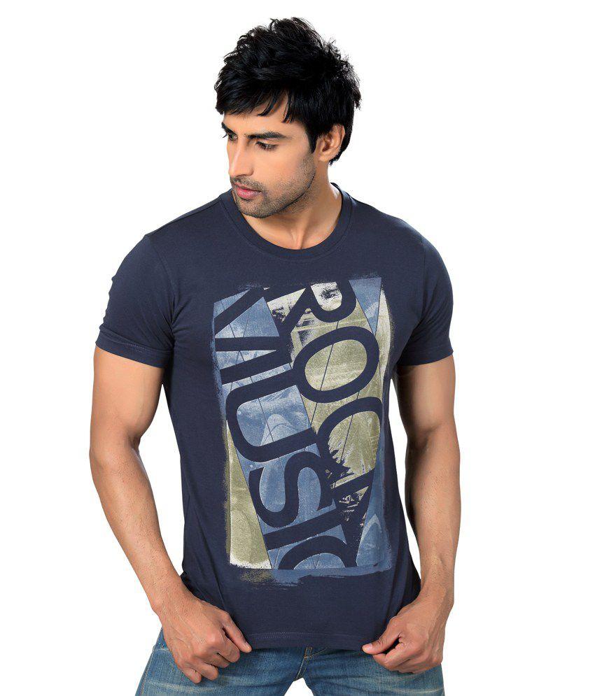 Astron Stylish Navy Blue Round Neck Sinker Half Sleeves Printed Tshirt For Men   Astm2p019