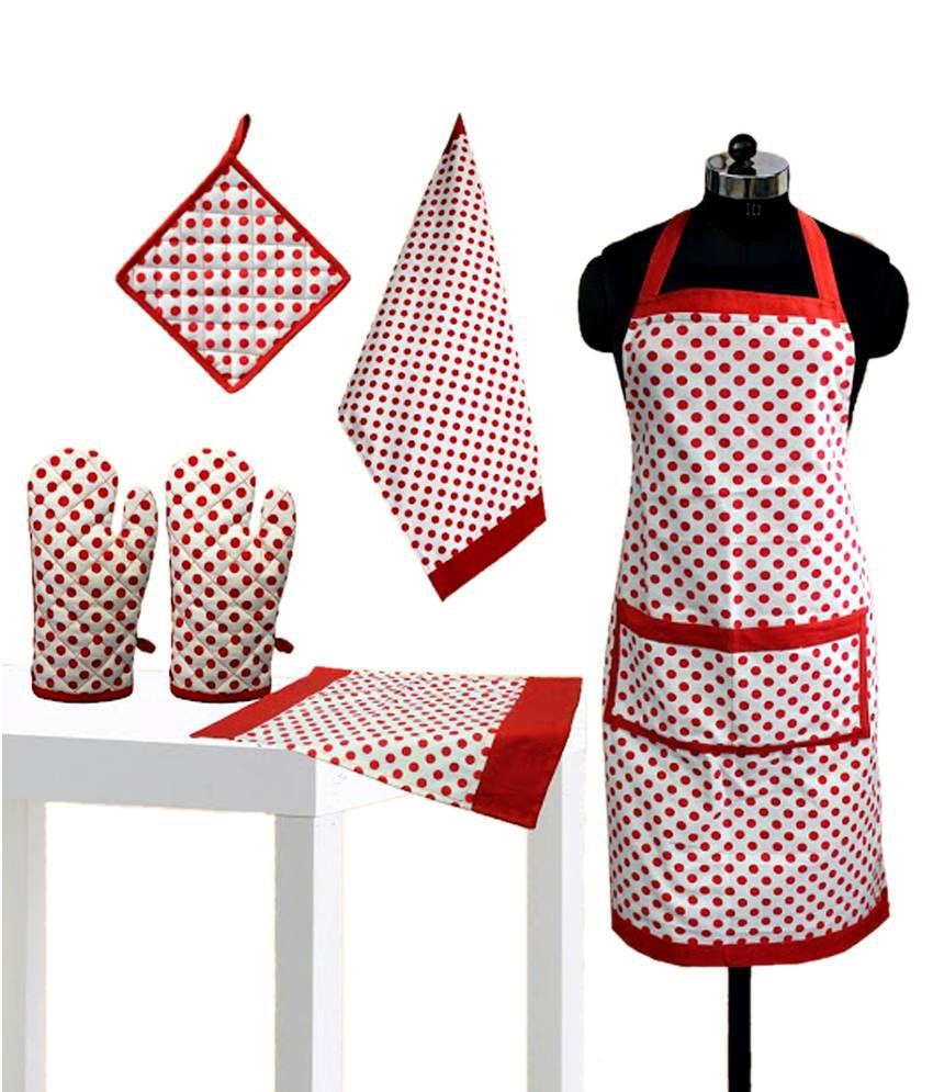 Dekor World Red & White Printed Cotton Apron Set