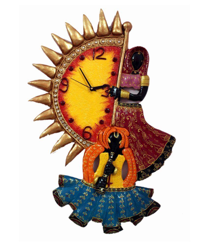 Ethnic India Art Rajasthani Women Design Wall Clock Buy Ethnic