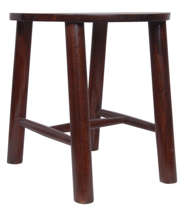 Kings Kraft Brown Wooden Round Side Table