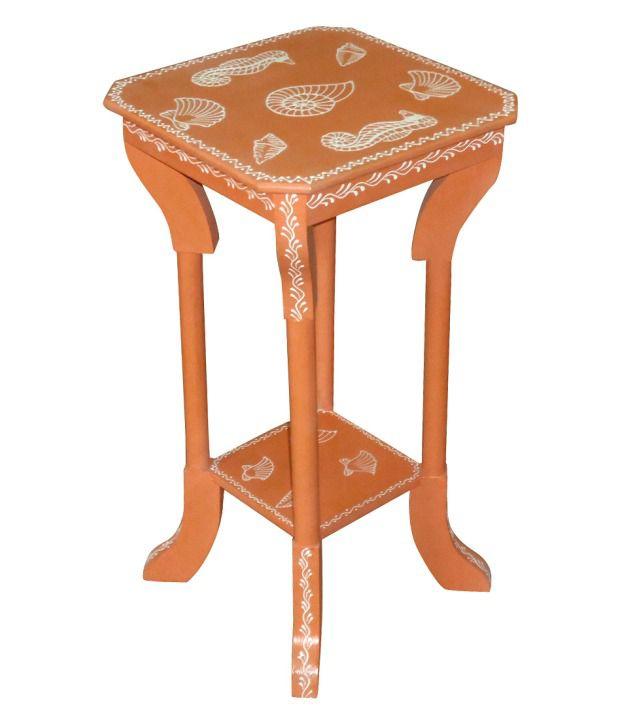 Kings Kraft Orange Painted Wooden Pedestal