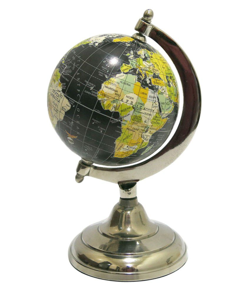 Art Palace Globe On Metal Stand In Nickel Finish