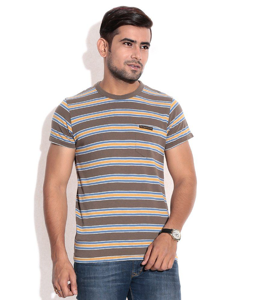 Jack & Jones Brown Cotton  T-Shirt