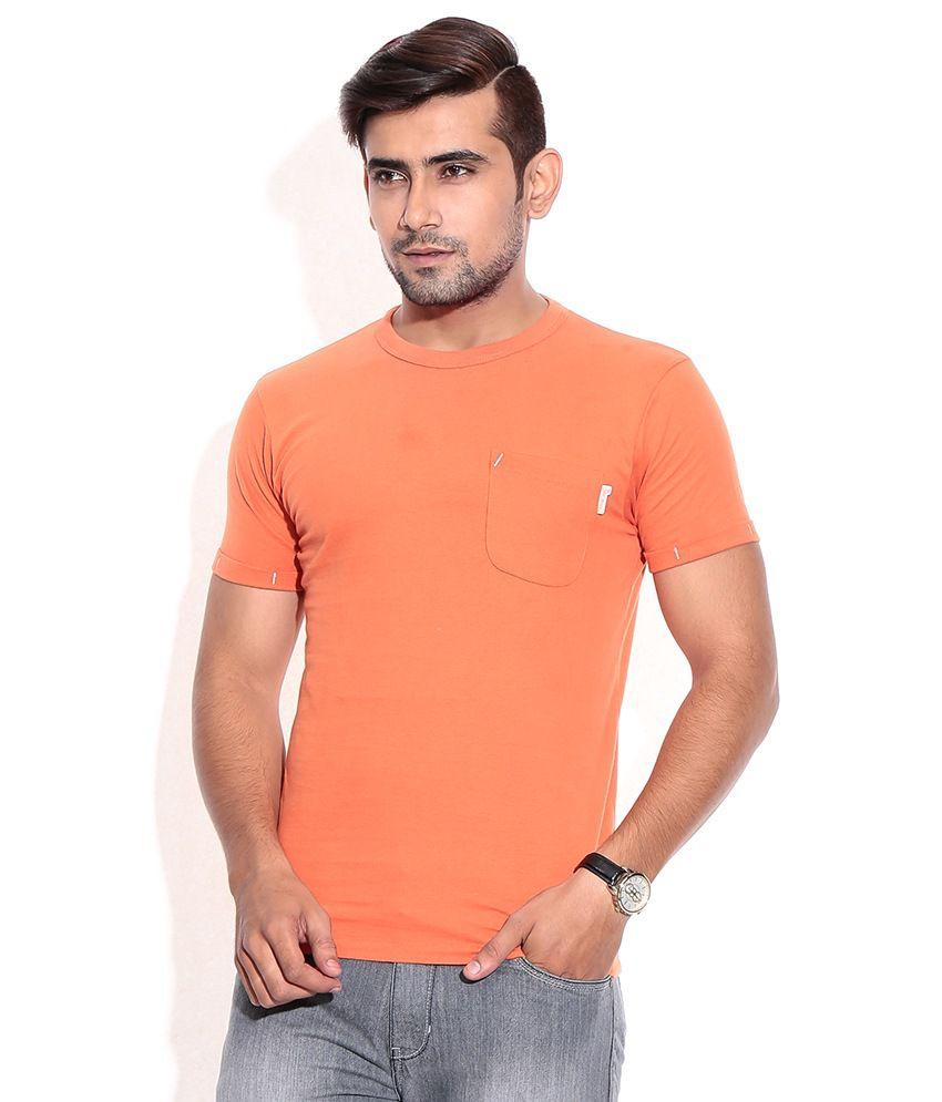 Jack & Jones Orange Cotton  T-Shirt