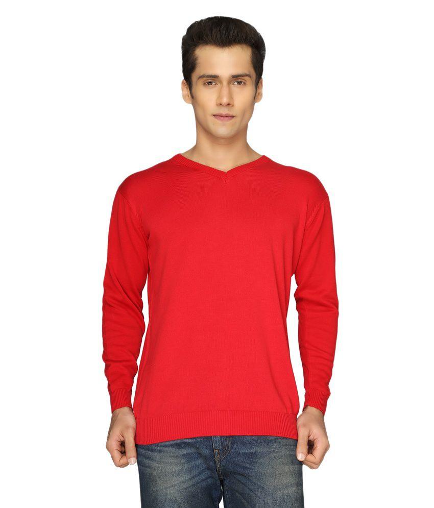 Pepper Red Cotton V-neck Full T-shirt