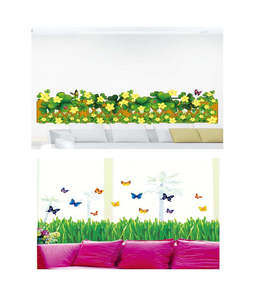 Pindia Black Flower Design Wall Sticker: PINDIA Multicolour Green & Yellow Flower Border & Green