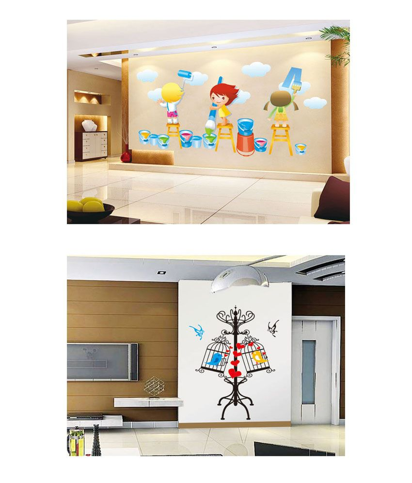PINDIA Multicolour Painting Kids & Birds In Cage Design Wall Sticker - Buy 1 Get 1