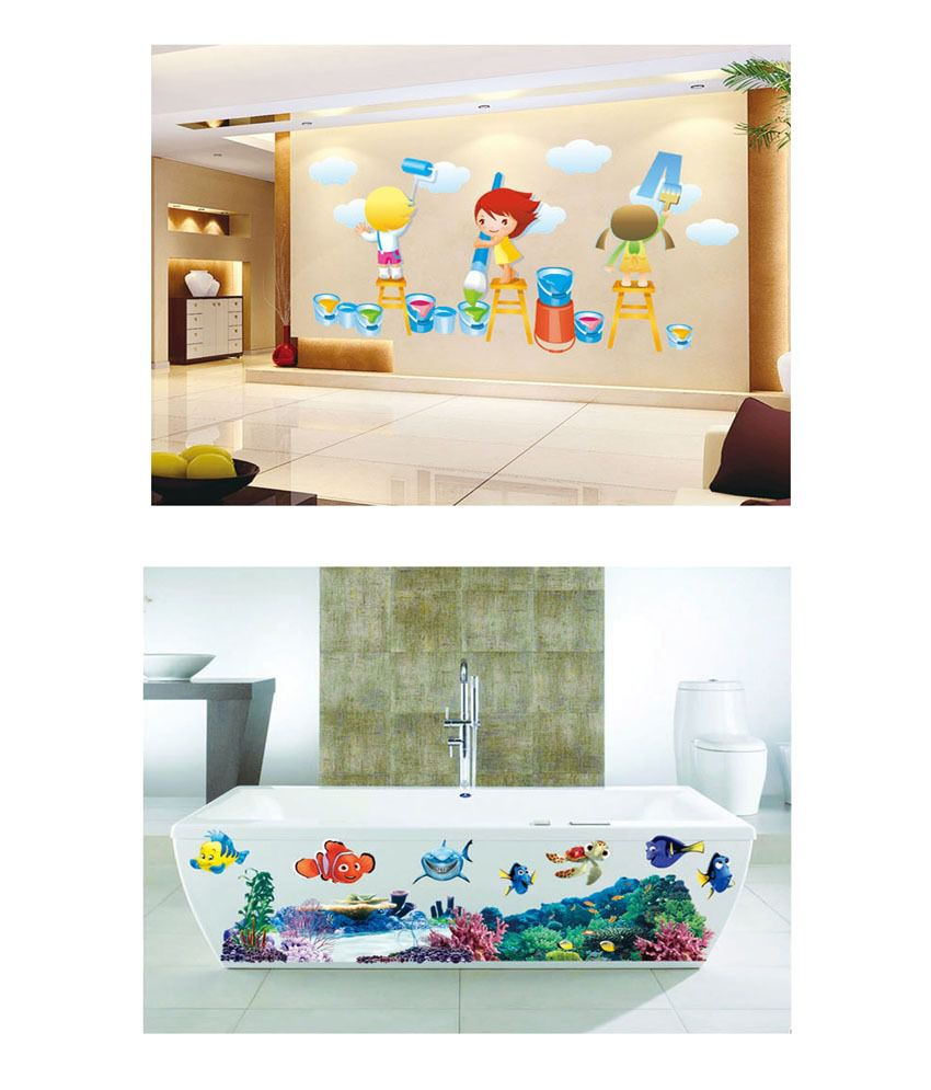 PINDIA Multicolour Painting Kids & Finding Nimo Underwater Border Design Wall Sticker - Buy 1 Get 1
