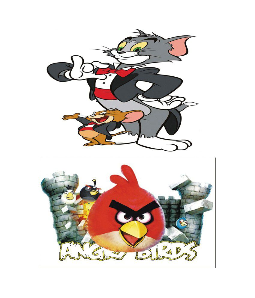 Tom and jerry stickers with sounds kamos sticker pindia multicolour tom jerry angry birds design wall sticker amipublicfo Image collections