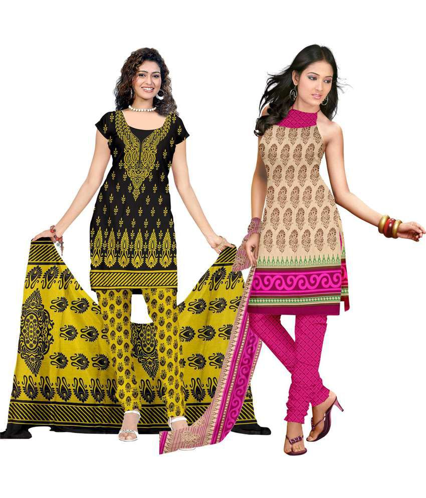 Silkbazar Multi Color Combo Pack Of 2 American Crepe Suit