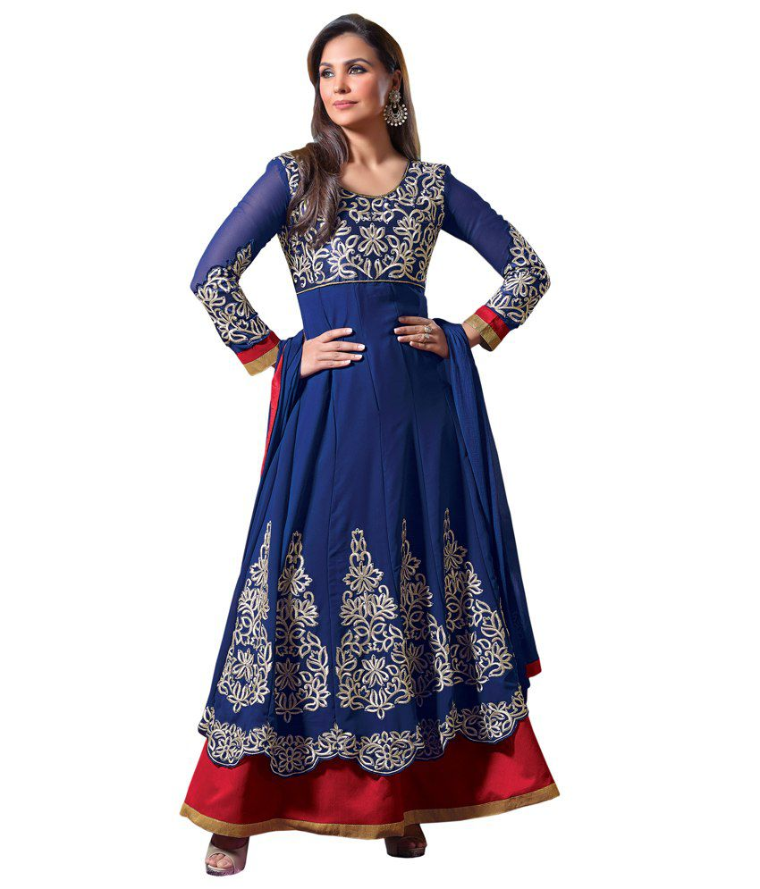 Admyrin Lara Dutta Blue Georgette Anarkali Salwar Suit Comprising Elegant Embroidery With Dupatta  available at snapdeal for Rs.7254