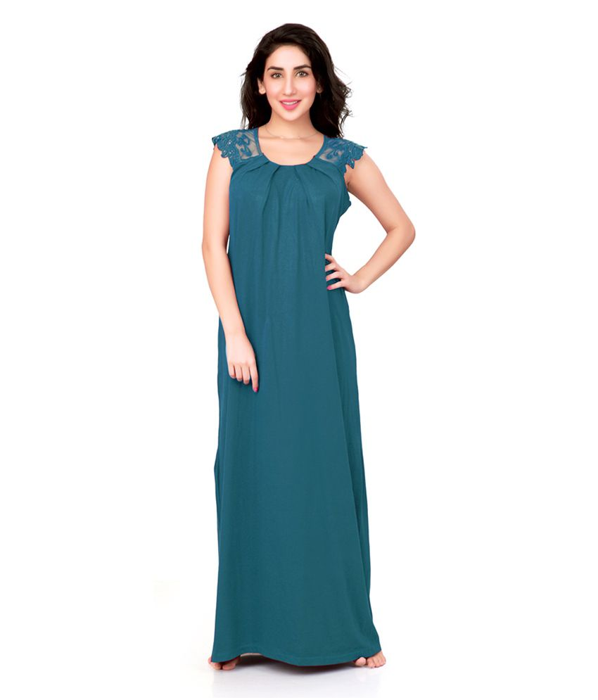 Honey Dew Green Knitted 100 Percent Cotton Long Nighty