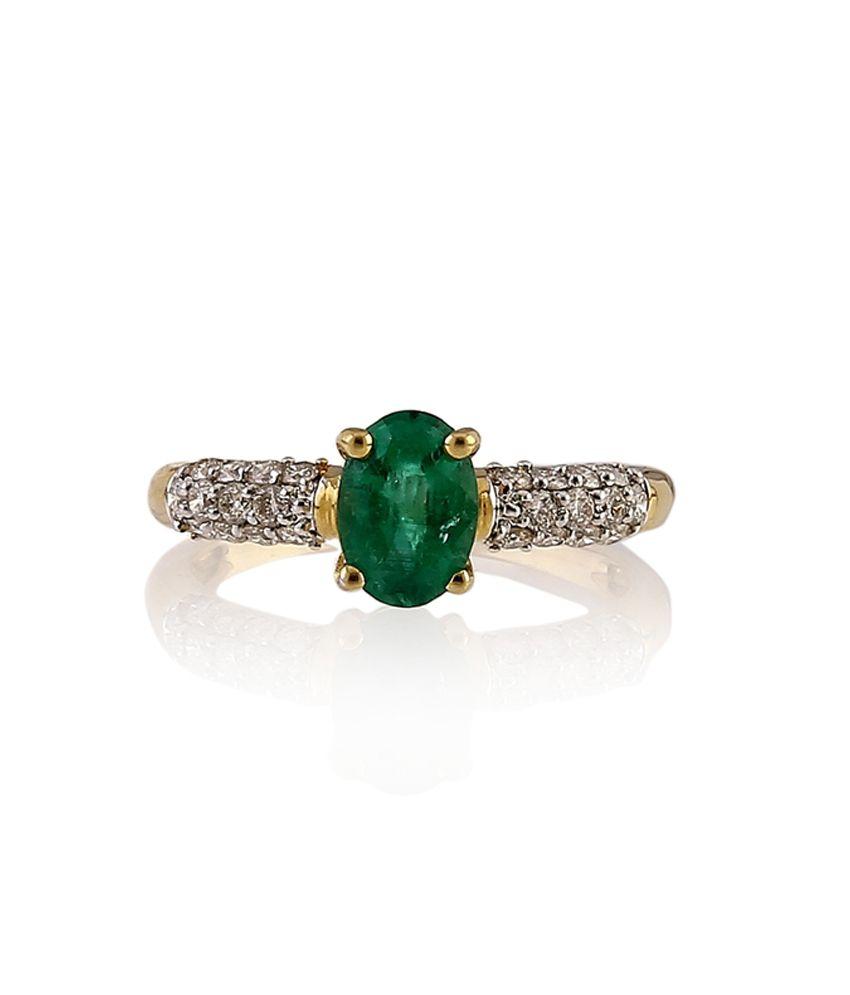 Ratnam 18Kt Coloured Stone Plated Real Diamond Designer Ring