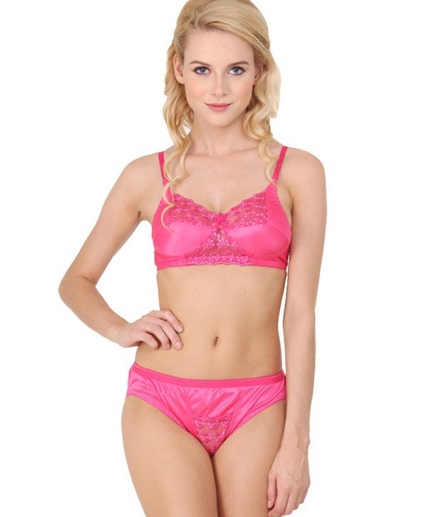 159213d96e Buy Urbaano Pink Satin Bra   Panty Sets Online at Best Prices in India -  Snapdeal