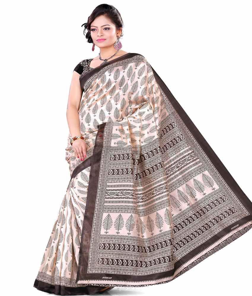 E-vastram Beige Cotton Silk Saree