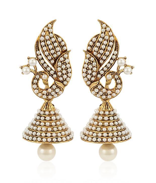 Jewels Galaxy Mayur Design Pearls Embedded Earrings