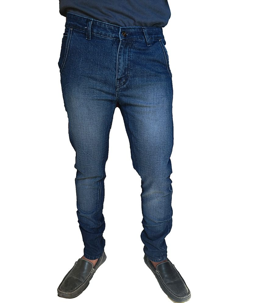 Oiin Blue Cotton Cross Pocket Jeans