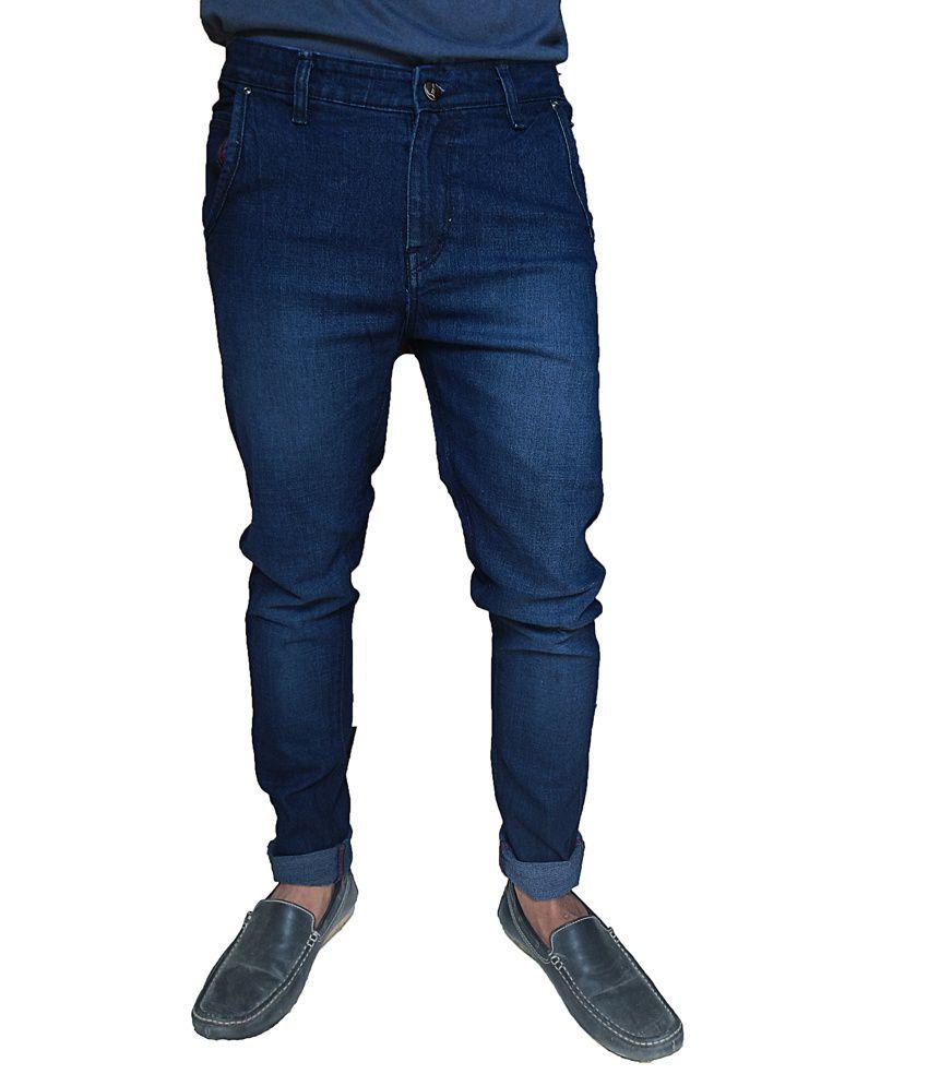 Oiin Blue Cotton Cross Pocket Jeans