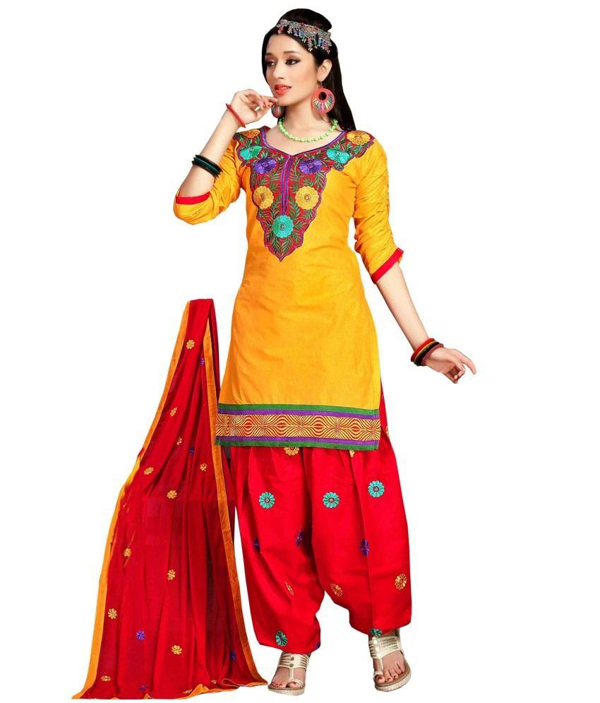 02a0988000 Rv Fashion Yellow Cotton Designer Patiala Dress Material - Buy Rv Fashion  Yellow Cotton Designer Patiala Dress Material Online at Best Prices in  India on ...