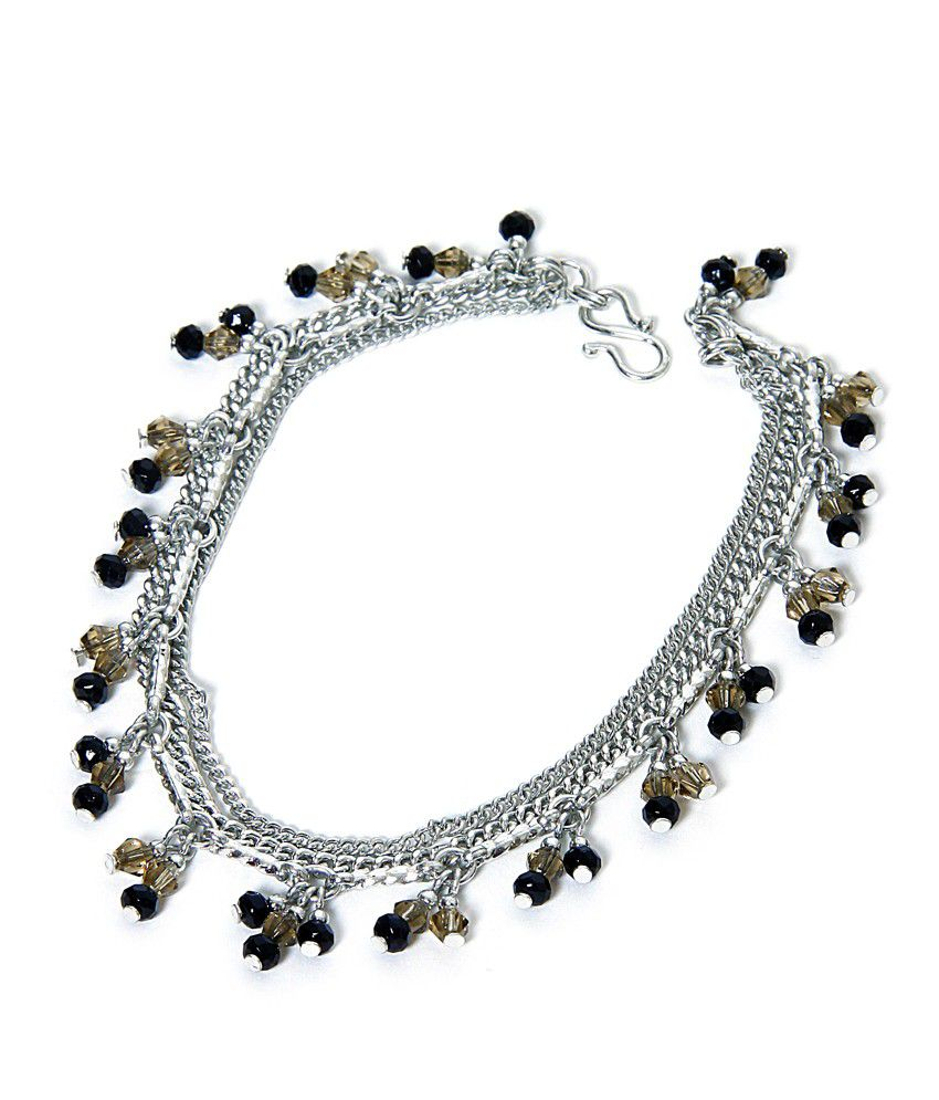 Zurii Black Bead Silver chain Anklet