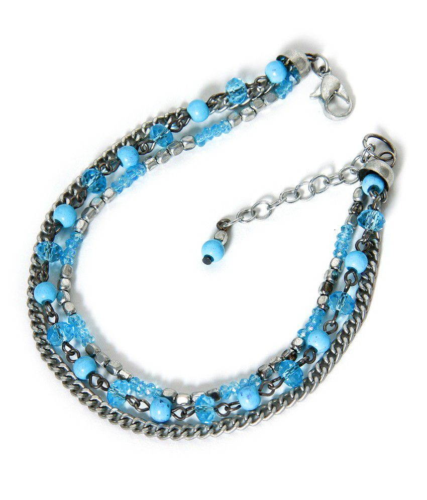 Zurii Sky & Silver Layer Bead Anklet